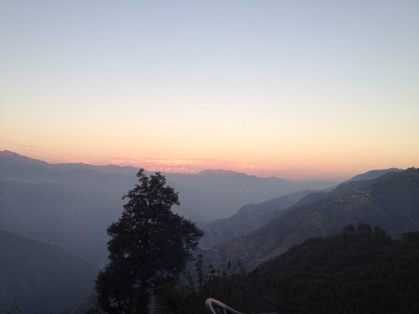 Sunset view of the Himalayas on the way to Mussoorie
