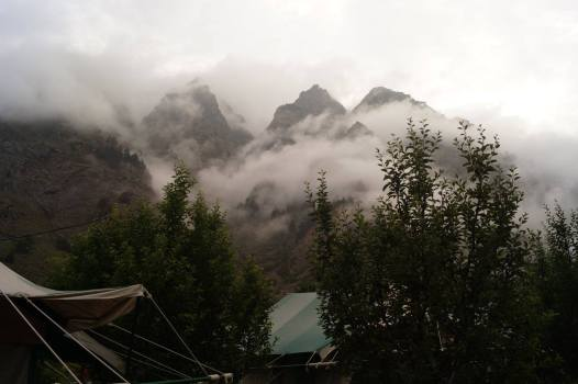 View of Sangla Camp before sunrise