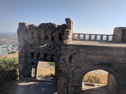 Ruins on top of Bhongir Fort