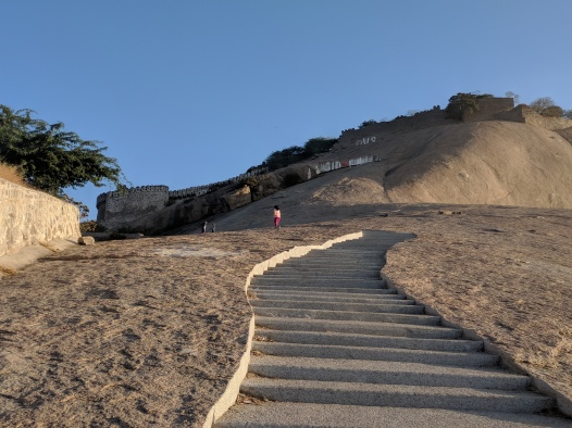 Walking up Bhongir Fort