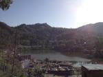 Rewalsar lake with town