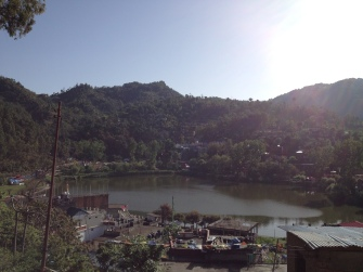 Rewalsar lake with town
