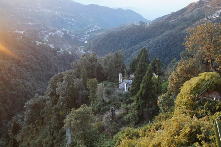 Early morning valley view from the hotel room in Mussoorie