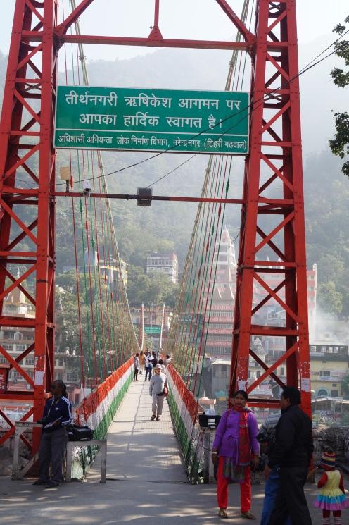 Walking on Laxman Jhula in Rishikesh
