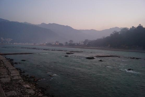 Walking path along River Ganga in Rishikesh