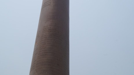 Close up of inscription of Ashoka Pillar