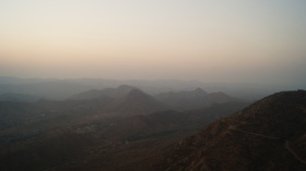 aravalli hills surrounding udaipur as seen from sajjangarh