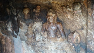 carving ls inside the cave at bojjanakonda