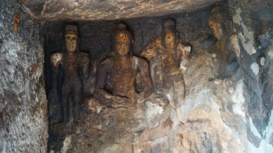 carving rs inside the cave in bojjanakonda