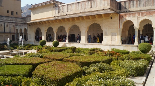 interior garden in amber fort jaipur
