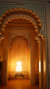 interior of the palace at kumbhalgarh fort and the paintings within