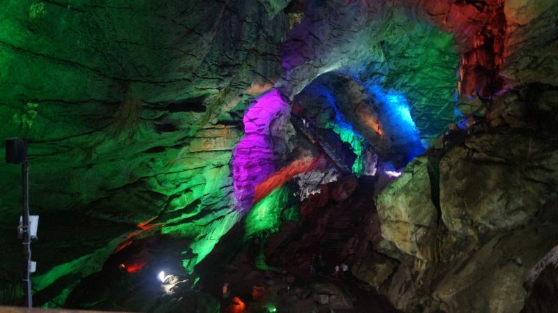 lighted magic rocks on the way to shiva temple inside borra caves