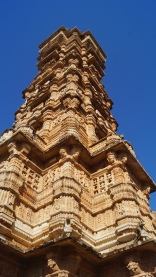 profile view of victory tower at chittorgarh