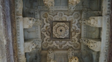 rock carvings inside victory tower in chittorgarh fort