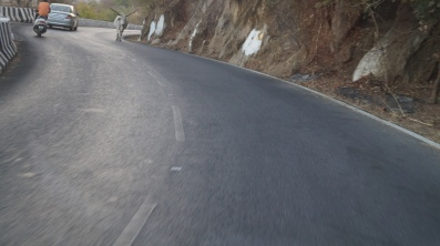 sharing the road with a cow on the way to mount abu