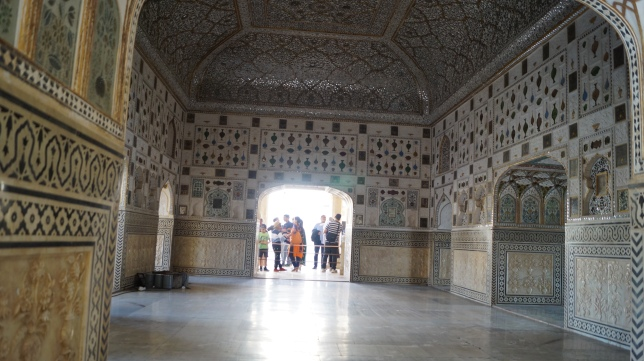 sheesh mahal inside view amber fort jaipur
