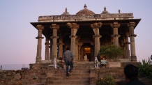 shiva temple inside kumbhalgarh fort at sunset
