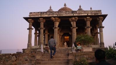 shiva temple inside kumbhalgarh fort at sunset