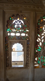 stained glass in chandra mahal in udaipur palace