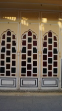 stained glass in hawa mahal jaipur