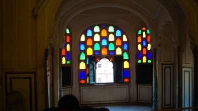 stained glass window inside hawa mahal jaipur