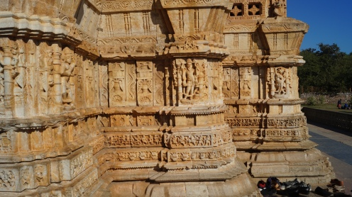 stone carvings of victory tower at chittorgarh