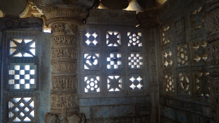 stonework inside the victory tower at chittorgarh