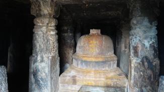 stupa inside the cave in bojjanakonda