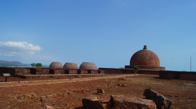 stupa view from living quarters at thotlakonda