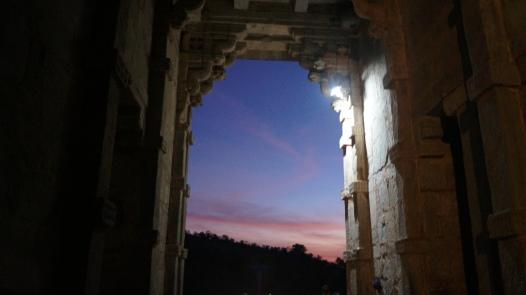 sunset through the gate in kumbhalgarh