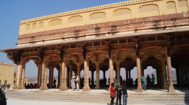 the meeting hall inside amber fort in jaipur