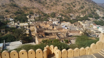 view as you exit amber fort in jaipur