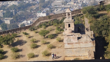 view from the top of the victory tower in chittorgarh fort