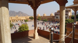 view of courtyard inside amber fort in jaipur