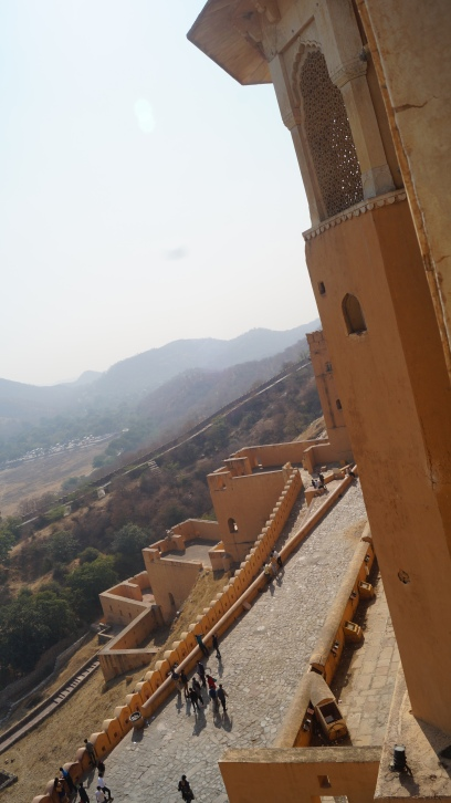 view of ramps leading to amber fort in jaipur