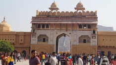view of sun gate in amber fort in jaipur