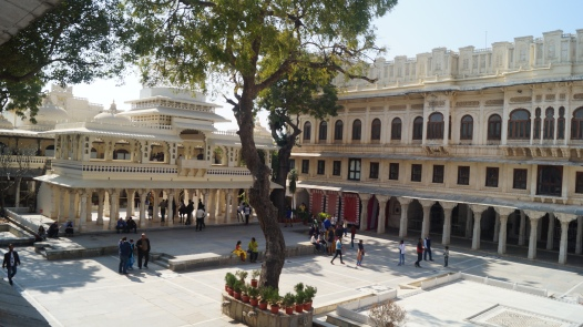 view of the courtyard inside udaipur palace