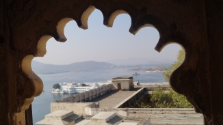 view of the lake from udaipur palace