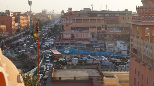 view of traffic from hawa mahal in jaipur