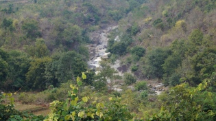 water from katika falls flowing in the area