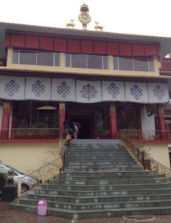 Entrance to the prayer hall at Dagpo Monastery