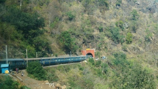 Train to Araku entering a tunnel