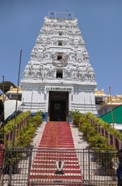 The main steps to the temple entrance. Pilgrims take another route now