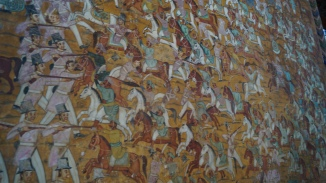 close up of mural details summer palace srirangapatna