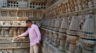 Looking the sculptures at Keshava Temple in Somanathpur