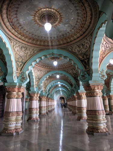Mysore Palace 1st Floor Main Hall looking outside