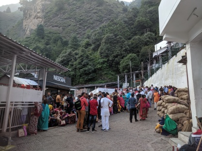 Waiting in line for the ropeway at Bhawan